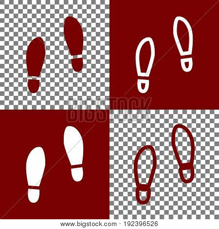 Imprint soles shoes sign. Vector. Bordo and white icons and line icons on chess board with transparent background.