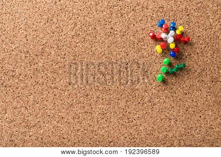 Group colorful push pins bulletin board background paper