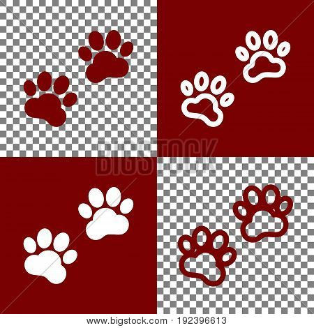 Animal Tracks sign. Vector. Bordo and white icons and line icons on chess board with transparent background.