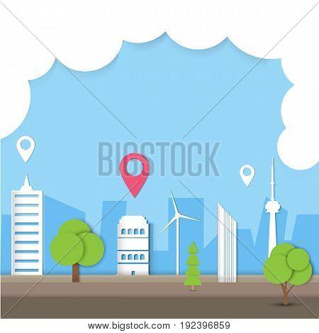 Logistic city paper art vector illustration. Vector illustration