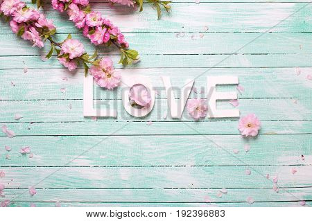 Word love and border from pink almond flowers on turquoise wooden background. Love concept. Selective focus. Place for text.