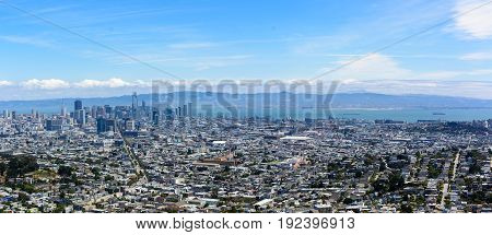 City of San Francisco as seen from the Twin Peaks on a summer afternoon