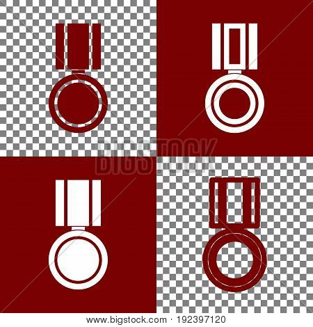 Medal sign illustration. Vector. Bordo and white icons and line icons on chess board with transparent background.