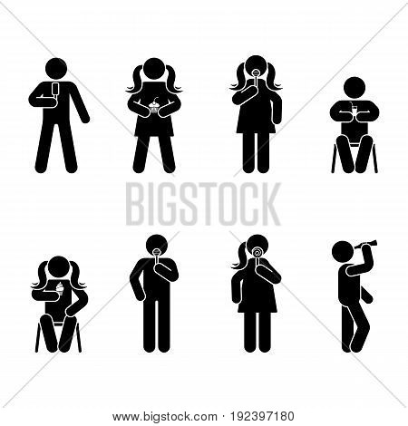 Stick figure different eating position set. Vector illustration of snack person icon symbol sign pictogram on white