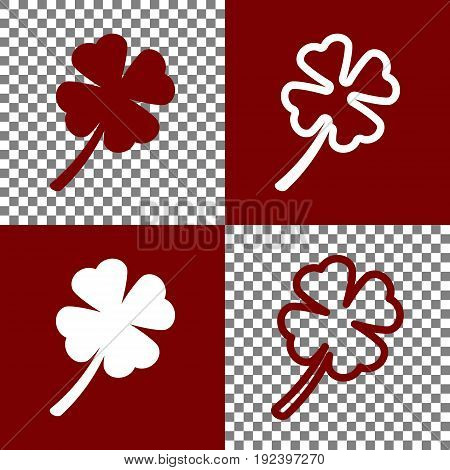 Leaf clover sign. Vector. Bordo and white icons and line icons on chess board with transparent background.