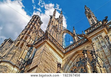Czech Republic. Prague Castle - Gothic Architecture Of St. Vitus Cathedral