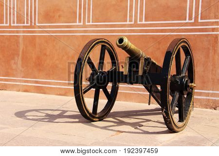 JAIPUR, INDIA - JANUARY 8, 2017: A cannonball projectile in the pink city.