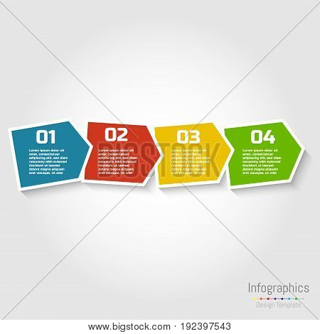 Step by step infographic design with numbers and text can be used for workflow layout diagram chart number options web design