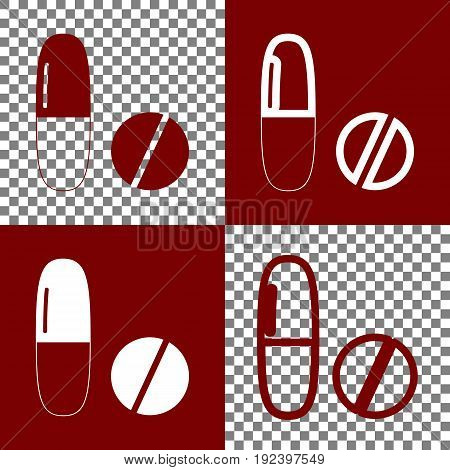 Medical pills sign. Vector. Bordo and white icons and line icons on chess board with transparent background.