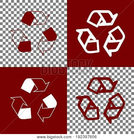 Recycle logo concept. Vector. Bordo and white icons and line icons on chess board with transparent background.