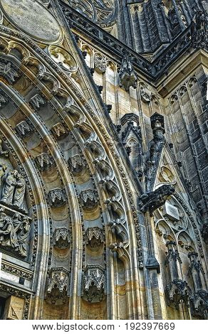 Detailed View On Gothic Mosaic Of St. Vitus Cathedral In Prague Castle In Prague, Czech Republic