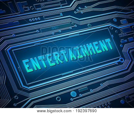 3d illustration depicting printed circuit board components with an entertainment concept.