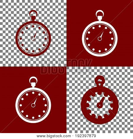 Stopwatch sign illustration. Vector. Bordo and white icons and line icons on chess board with transparent background.