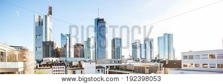 Panoramic view on the beautiful skyline with skyscrapers at the financial district in Frankfurt city, Germany