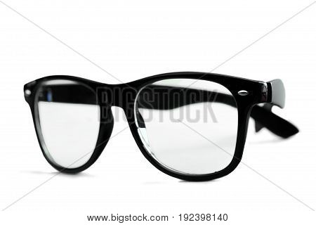 Isolated glasses nerd color white background object