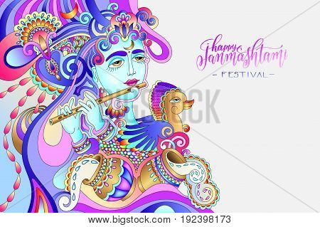 happy janmashtami celebration art design with a picture of a krishna who plays the flute to indian holiday greeting card, banner and invitation, artwork vector illustration