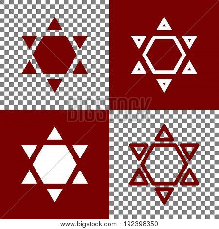 Shield Magen David Star Inverse. Symbol of Israel inverted. Vector. Bordo and white icons and line icons on chess board with transparent background.