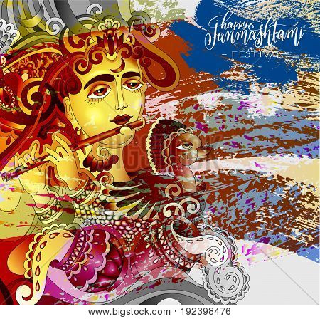 happy janmashtami celebration design greeting card with a picture of a krishna who plays the flute and hand lettering inscription on brush stroke background, vector illustration