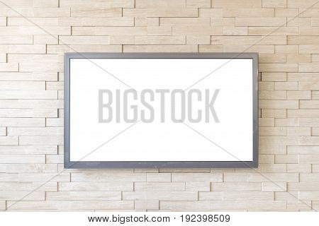 TV display on modern brick wall background with white screen.