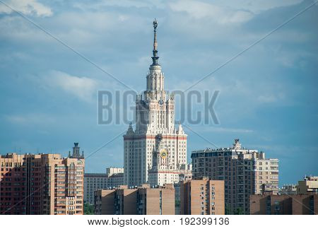 MOSCOW RUSSIA - June 22 2017 The building of Moscow State University named after Lomonosov in Moscow.