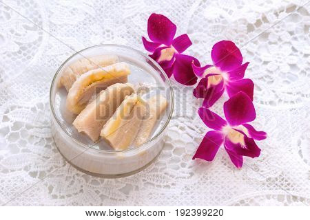 Banana Cooked in Coconut Milk (Kluay Buat Chi)Thai desserts made from banana and coconut milk.Sweet taste it mellow.