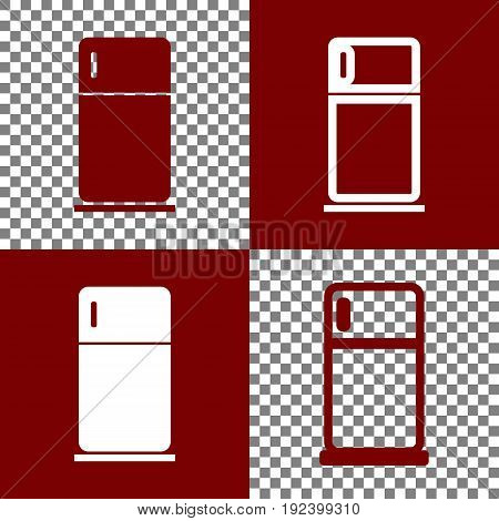 Refrigerator sign illustration. Vector. Bordo and white icons and line icons on chess board with transparent background.