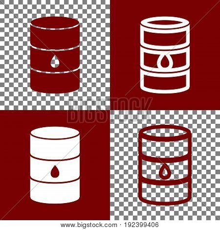 Oil barrel sign. Vector. Bordo and white icons and line icons on chess board with transparent background.