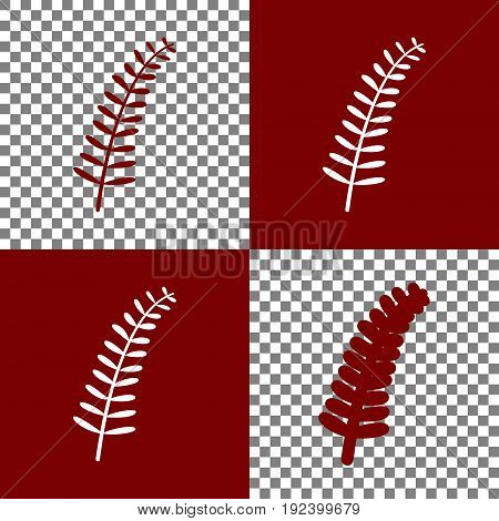 Olive twig sign. Vector. Bordo and white icons and line icons on chess board with transparent background.