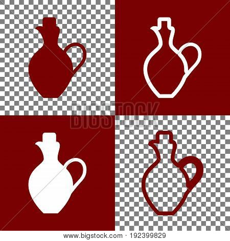 Amphora sign illustration. Vector. Bordo and white icons and line icons on chess board with transparent background.