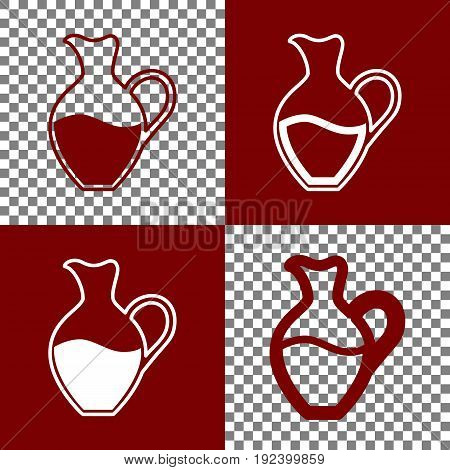 Amphora sign. Vector. Bordo and white icons and line icons on chess board with transparent background.