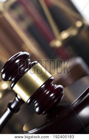 Law concept. Lawyers office. Mallet of the jugde.