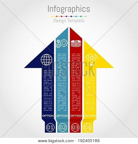 Arrow infographic template. Vector layout for business infographics with marketing icons and design elements.