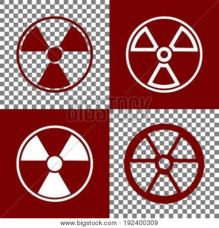 Radiation Round sign. Vector. Bordo and white icons and line icons on chess board with transparent background.