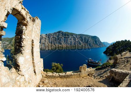 Landscape of the Mediterranean Sea. Mountains and the sea of Turkey