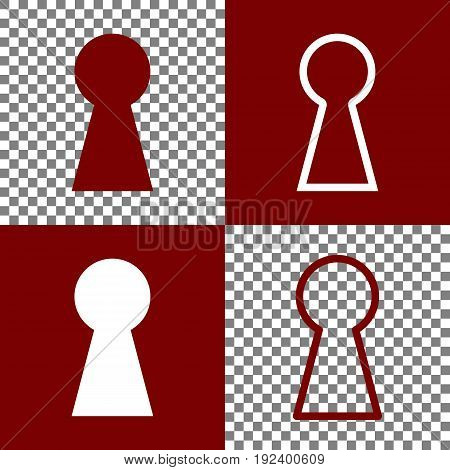 Keyhole sign illustration. Vector. Bordo and white icons and line icons on chess board with transparent background.