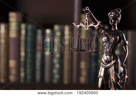 Law theme. Court library. Statue of justice.
