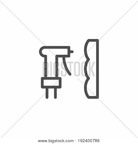 Foam insulation line icon isolated on white. Vector illustration