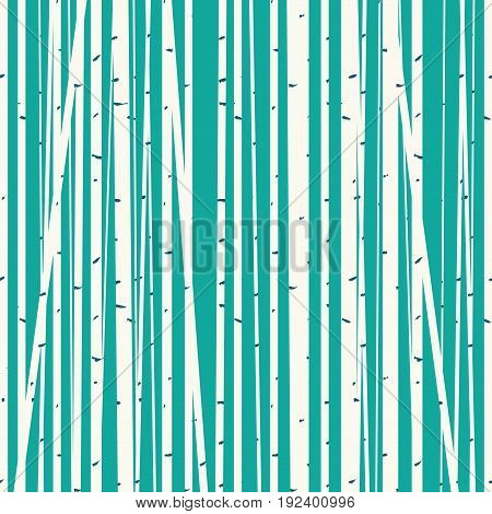 Seamless vector texture with a picture of the forest of trees against the blue sky. Birch forest vector background. Birch grove pattern. Background of trees