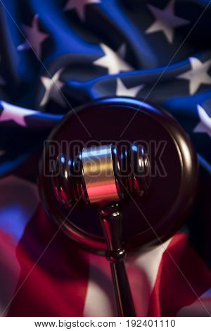 Independence Day theme. 4th of July. American Declaration of Independence. Gavel, library, different codes. American flag.