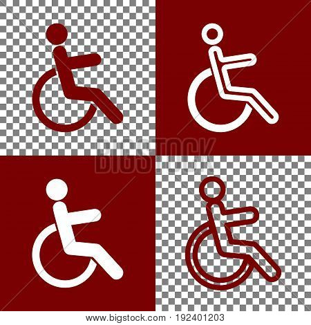 Disabled sign illustration. Vector. Bordo and white icons and line icons on chess board with transparent background.