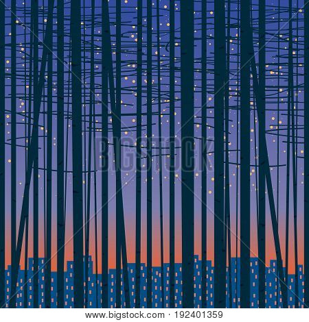Vector seamless texture with silhouettes of trees against the night city. Birch forest vector background.