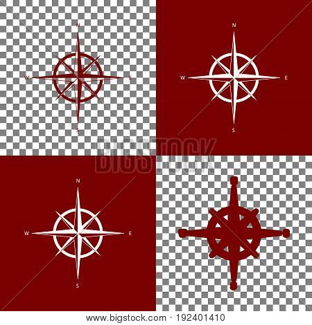 Wind rose sign. Vector. Bordo and white icons and line icons on chess board with transparent background.
