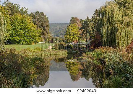 Beautiful landscape in Kurpark in Bad Pyrmont, Germany