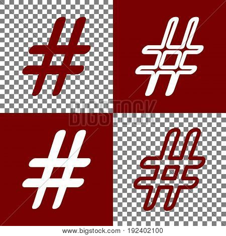 Hashtag sign illustration. Vector. Bordo and white icons and line icons on chess board with transparent background.