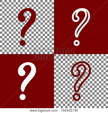 Question mark sign. Vector. Bordo and white icons and line icons on chess board with transparent background.