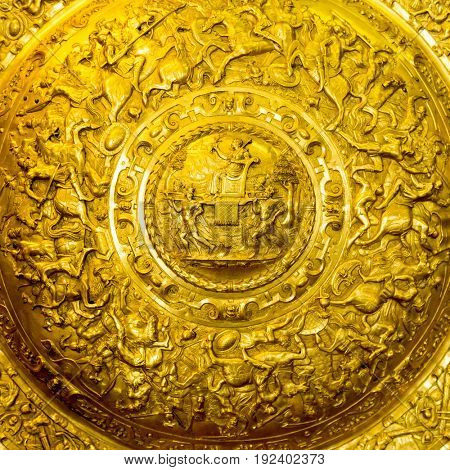 Beautiful ancient shield with inscriptions