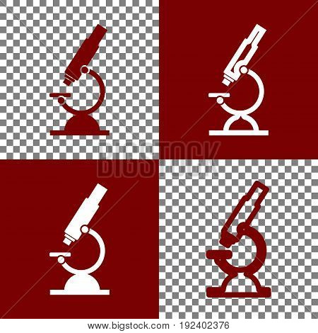 Chemistry microscope sign for laboratory. Vector. Bordo and white icons and line icons on chess board with transparent background.