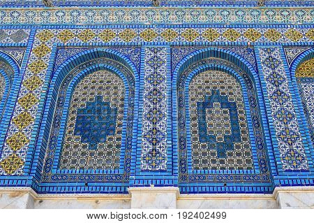 fragment of tiled facade of mosque Dome of the Rock at Temple Mount, Old City of Jerusalem, Israel