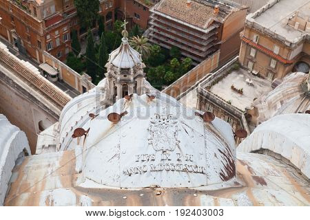 ROME - August 03: View from the roof of St. Peter's Cathedral on August 03, 2014 in Vatican (Rome), Italy