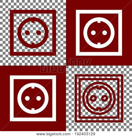Electrical socket sign. Vector. Bordo and white icons and line icons on chess board with transparent background.